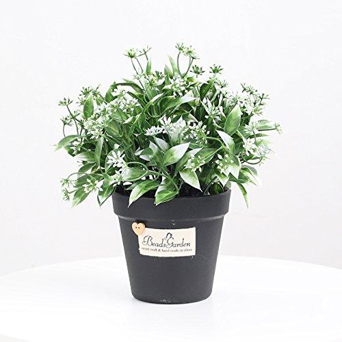 KIKIXI Nordic Simulation grüne Dekoration Deko Indoor Office Restaurant dekorative Blumen Pflanzen Bonsai Topfpflanzen Kreative home Zubehör, schwarz Waschbecken orange Blume Weiß