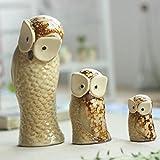 Bwlzsp Keramischer kreativer Brennofen ändern keramische Hauptdekoration Raumhandwerk Zubehör Eule Familie von Drei WL5141358