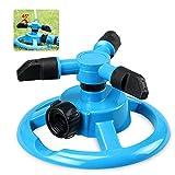 KOBWA Garten Sprinkler, 3-Arm-12-Wasser Loch 360 Rotierend Einstellbare Rasensprenger, 3600 SQ FT Coverage Rasen Bewässerungssystem/Leak Free, für Kinder Spielen Sie Im Freien