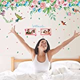 #8: UberLyfe Pink and Blue Flower with Bird Wall Sticker (Wall Covering Area: 55cm x 170cm) - WS-001349