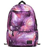 Canvas Galaxy Pattern School Bag Backpack Cute Rucksack for Girls (Purple)