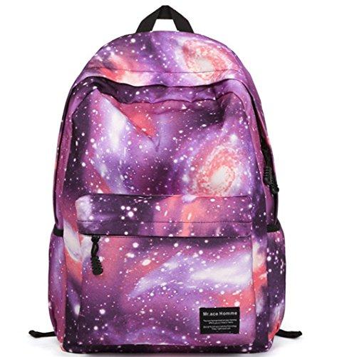 Stormiay Unisexsegeltuch -Galaxy-Muster-Schule-Beutel-Rucksack Netter Rucksack für Mädchen (Blau) Lila
