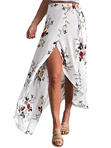 Minetom Damen Elegant Lässig Boho Ethnische Drucken Asymmetrisch Slits Maxi Rock Lang Kleid Wickelrock Long Skirt Strand Weiß DE 36