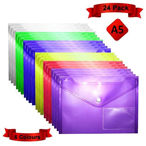 Busta con Bottone (Confezione da 24)- Portadocumenti Plastica Trasparente A5 6 Colori Diversi con Bottone A Pressione-Con Supporto Targhetta per Documenti, Certificati, Ricevute e Buoni