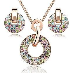 Crystals from Swarovski Colorido Redondo Juego de joyas Collar con colgante 45 cm Pendientes 18k Chapado en oro rosa para mujer