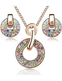 Ensemble collier et boucles d oreille 18 carats plaqué or rose avec cristaux  multicouleurs de 7670baf44a67