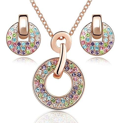 Ensemble collier et boucles d'oreille 18 carats plaqué or rose avec cristaux multicouleurs de Swarovsk