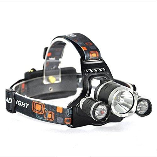 Helioze 3x CREE T6 LED Wasserdicht 2X 18650 Batterie Wiederaufladbare Stirnlampe für Laufen, Höhlenforschung, Joggen, Camping, Wandern Usw Headlamp