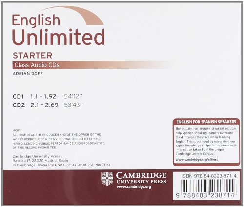 English unlimited for spanish speakers starter class audio cds (2) (Edición para España)