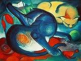 Kunstdruck/Poster: Franz Marc Zwei Katzen, blau und gelb - hochwertiger Druck, Bild, Kunstposter, 85x65 cm