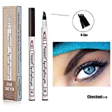 Penna per Sopracciglia Tattoo Brow 4 punte Impermeabile, 3D Liquid Tattoo Penna Microblading Marker Matita per Sopracciglia Punte Liquido Eye Makeup,Durevole,Look Naturale