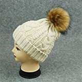 KKCF Winter-Warmer Hut Gestrickte Bobble-Hüte Mit Kunstpelz-Kappe Für Frauen-Mädchen,Beige