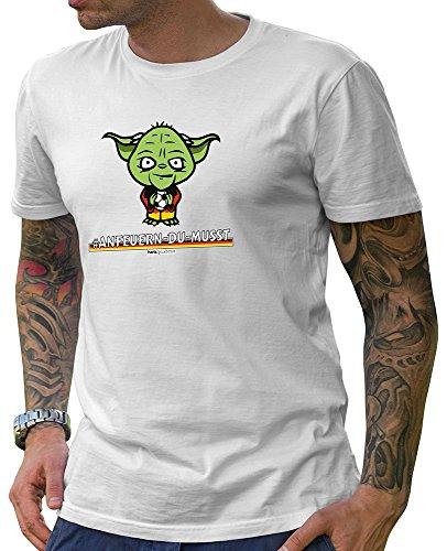 HARIZ  Pixbros Collection Herren T-Shirt Weiß Designs Wählbar Deutschland Trikot WM EM Fahne Inkl Urkunde Bang Sticks Pixbros13: Anfeuerndumusst L