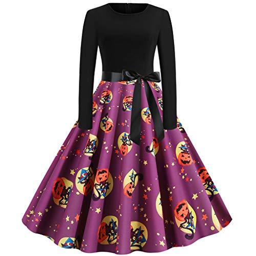 SSUPPLYYM Halloween Frauen Abendkleid Vintage Kleid Mode Vintage Langärmliges Kleid Halloween 50er Jahre Hausfrau lässig Abend Party Prom Kleid Kostüm Makeup Kleid - Kids Übergröße Kostüm