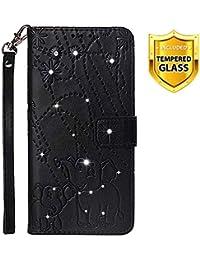 Boloker Case for Xiaomi Redmi 5 Plus [with Tempered Glass Screen Protector], [Kickstand] Retro Flip Case Elegant Vintage Diamond Design PU Leather Protective Case (Black)