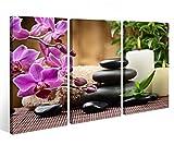 Leinwandbild 3 Tlg.Wellness Feng Shui Blume Steine Leinwand Bild Bilder auf Keilrahmen Holz - fertig gerahmt 9O948, 3 tlg BxH:120x80cm (3Stk 40x 80cm)