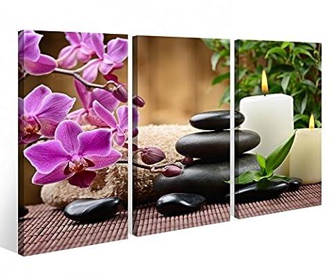 Leinwandbild 3 Tlg.Wellness Feng Shui Blume Steine Leinwand Bild Bilder