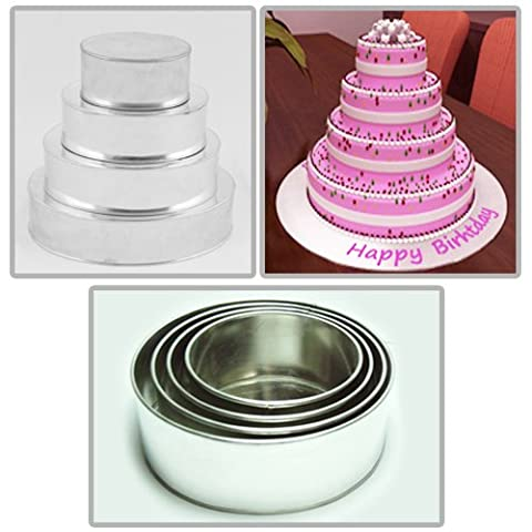 4 Tier Round Multilayer Birthday Wedding Anniversary Cake Tins