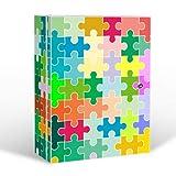 banjado Medizinschrank groß abschließbar | Arzneischrank 35x46x15cm | Medikamentenschrank aus Metall weiß mit Motiv Puzzle Bunt