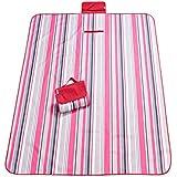 Manta para picnic (145× 180cm Ultra ligero portátil playa manta Flocado plegable camping impermeable Oxford paño verschleißfest resistente a la humedad parte inferior Fur Outdoor Camping & # xff08; Rojo)