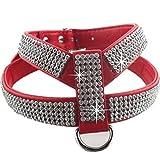 LIZONGFQ Hundehalsband Harness Kristall Diamant Haustier PU Leder für Haustier einstellbar Bling Strass Kragen Pet Produkte,Red,L