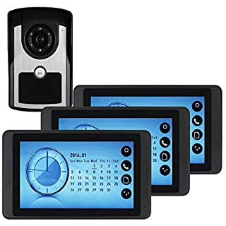 Video Türklingel, wasserdichtes Videotürtelefon Türklingel Drahtgebunden Video Intercom System mit Nachtsichtkamera und 3 LCD Monitor (7 Zoll) und 16 Chimes/SD Karte (110-240V)