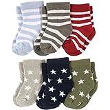 Footprints Super soft Organic Cotton Baby Boy Girls Kids socks- Pack of 6- (12-24 Months)- Stripes and Stars