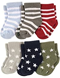 FOOTPRINTS Kids Super Soft Organic Cotton Stripes and Stars Socks (Multicolour, 12-18 Months) - Pack of 6