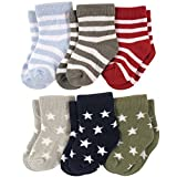 #5: Footprints Super soft Organic cotton and bamboo socks- Pack of 6- (12-24 Months)- Stripes and Stars