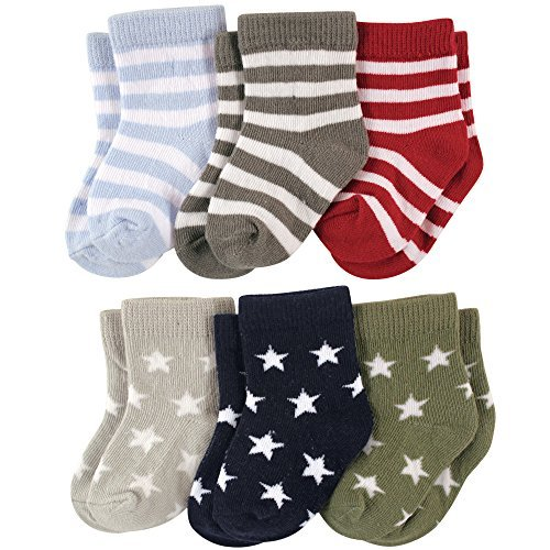 Footprints Super soft Organic cotton and bamboo socks- Pack of 6- (12-24 Months)- Stripes and Stars