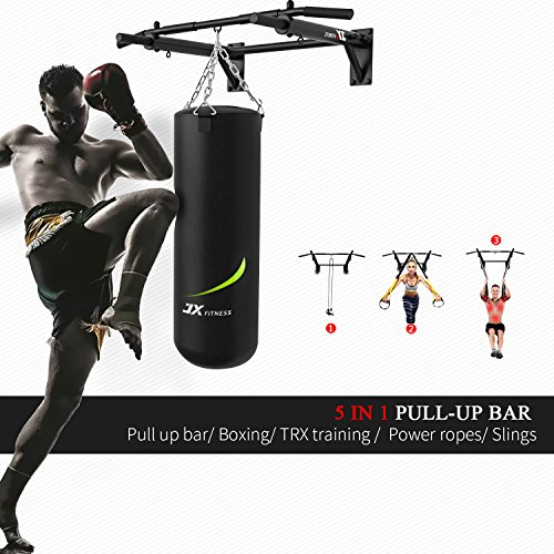 JX-FITNESS-Pull-Up-Bar-Wall-Mounted-Chin-Up-Bar-Home-Gym-Punch-Bag-and-TRX-Training-Hook-Exercise-Bracket-Upper-Body-Workout-Bar