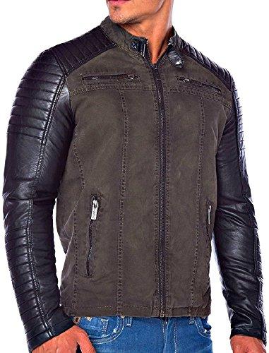 BIKER JACKE KUNST HERREN LEDERJACKE MOTORRADJACKE BIKERJACKE Black SCHWARZ MOTORRAD Designer Sweat Jacke men leather jacket Deep black slim fit NEU New (M, Khaki) (Label Black Lederjacke)