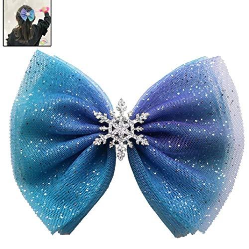 Gefrorene Haarschleife Elsa-Haar-Bogen Disney Prinzessin Elsa-Bogen-Klipp-Blau-Haar-Bögen Mint Blau Elsa Bow