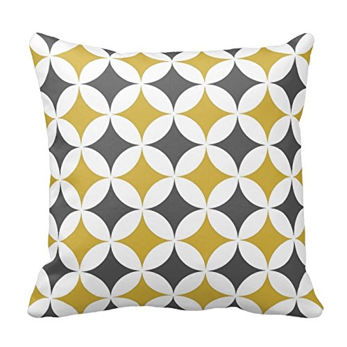 Mustard and White Circles Pattern Throw Pillow Case Cushion Cover Square Decorative 18X18 Inches Two Sides