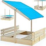 Sandkasten Sitzbank Spielhaus Holz Sandkiste Sandbox Sand 120x120cm mit verstellbarem Sonnendach und integrierten Sitzbänken UV-Schutz>50