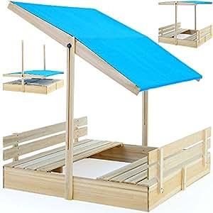 bac sable 120x120 avec pare soleil et bancs int gr s jeux enfants jeux et jouets. Black Bedroom Furniture Sets. Home Design Ideas