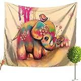 LvRao Elefant Blumenmuster Tapisserie Hippie Mandala Bohemian Traditionelle indische Wandbehang Tabelle Vorhang Wand Decor Tisch Couch Bezug Picknick Stranddecke (Elefant #9, 150*200cm)