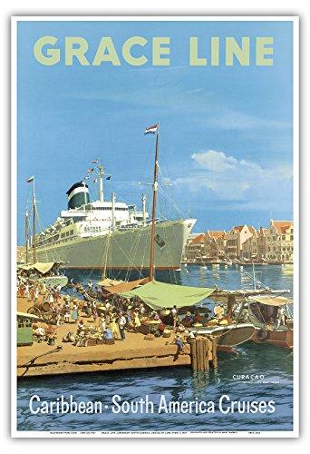 Karibik - Südamerika Kreuzfahrten - Willemstad Harbour, Curaçao, Westindische Inseln - Grace Linie - Vintage Retro Dampfschiff Kreuzschiff Reise Plakat Poster von Carl G Evers c.1957 - Kunstdruck - 33cm x 48cm