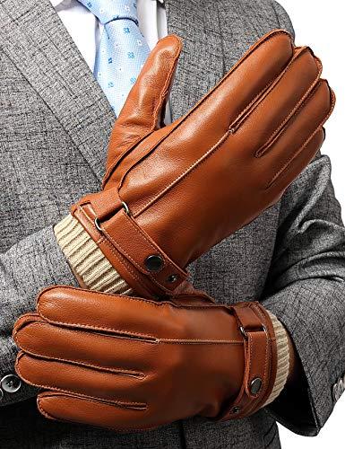 Guanti Touch Screen Uomo, Pelle Genuina con foderata in peluche e finitura a maglia, Guanti Moto Aoto invernali, Marrone, M
