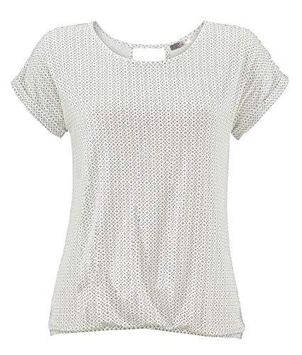 Print T-shirt (ELFIN Damen T-Shirt Kurzarm Blusen Shirt mit Allover-Minimal Print Lose Stretch Basic Tee)