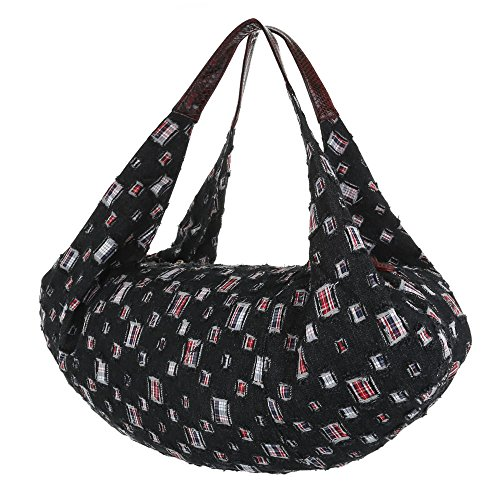 Damen Shopper Damen Schultertasche Tragetasche Handtasche Schwarz Blau Modell Nr2 Schwarz