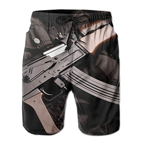 Military Sniper Gun Rifle Quick Dry Lace Boardshort Beach Shorts Pants Swim Trunks Comical Mens Swimsuit with Pockets Medium -