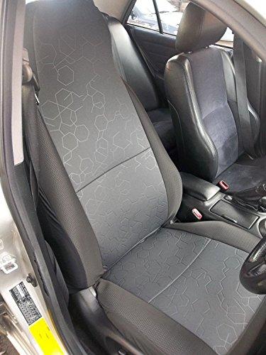 che si adatta a Nissan NP300Navara, coprisedili per auto, esagonale, grigio, 2front