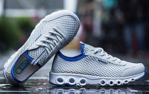Sommer Atmungsaktive Unisex Erwachsene Textil Gitter Britische Stil Laufschuhe Schnürsenkel Dicke Sohle Sport Turnschuhe Sneakers Hellgrau