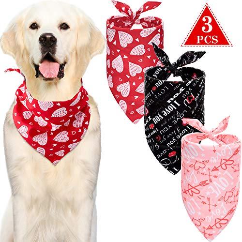 3 Pezzi Cani Sciarpa di Cuore Sciarpa per Cani di Cuore Sciarpa per Animali Domestici Lavabile Bavaglini di Animali San Valentino per Cani Gatti Animali Domestici, Accessori Festival, Rosso Nero Rosa