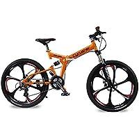 Cyrusher RD100 Vélo pliable Shimano M310 Altus pour hommes avec suspension complète, 24 vitesses, cadre en aluminium et freins à disques Orange 43,2cmx66cm