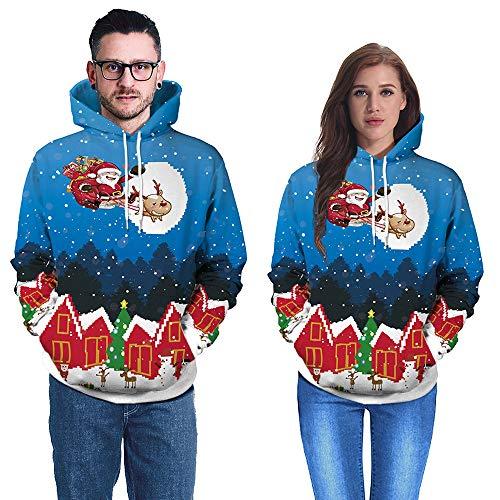Santa Kostüm Lady Claus - WOBANG Männer Hoodie Sweatshirt, Männer und Frauen 3D Printing Langarm Pullover Tops Pocket Sweater Schöne Santa Claus Print Casual Tuch für Weihnachten Kostüm (Large, Blue)