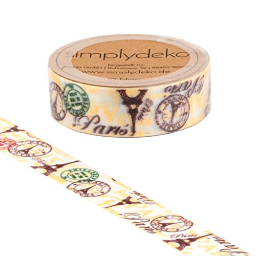 e - Masking Tape Vintage und Retro - Wundervolles Washitape Bastel-Klebeband aus Reispapier - Paris (Paris-papier)
