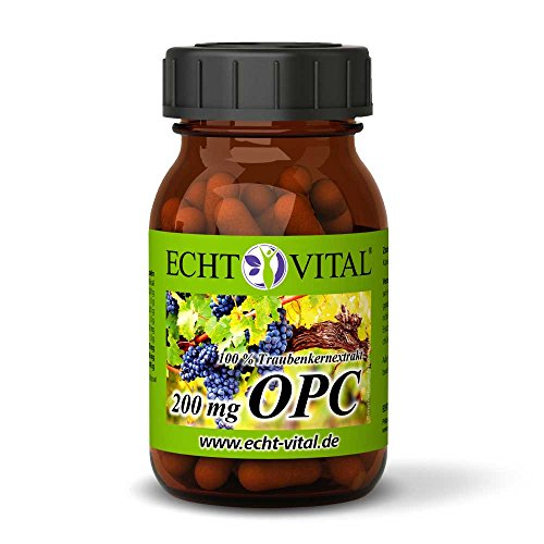 ECHT VITAL OPC Traubenkernextrakt Kapseln   100{a078a6f3182094763daf4fb49551b5723af391ae3a28bf93b9332bf8620b15c4} Premium OPC aus französischen Trauben   200 mg reines OPC je Kapsel (HPCL)   60 Kapseln OPC im Glas   Vegan, Rein, Hergestellt in Deutschland
