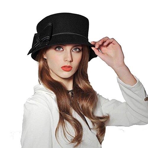 Frau Filz Hut Damen Jahrgang Wolle Melton Niedlich Bowknot Bowler Kappen Fedora Hut 80Store (Niedliche Für Kostüme Clown Frauen)